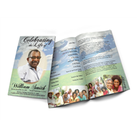 Green Fields - Funeral Program Template