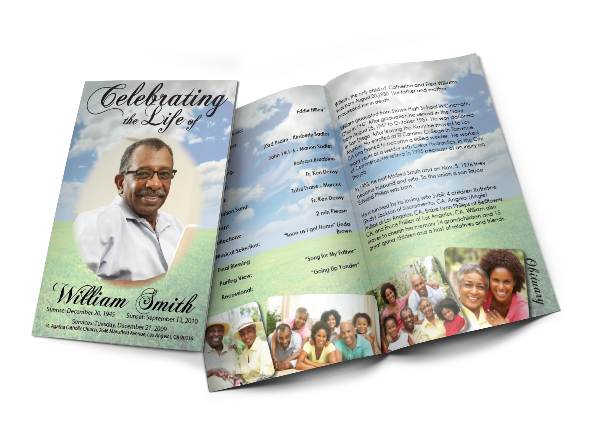 this funeral program uses a green field background with vivid color